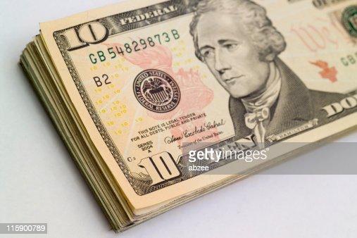 Stack of ten dollar bills