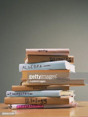 Stack of text books : Stock Photo