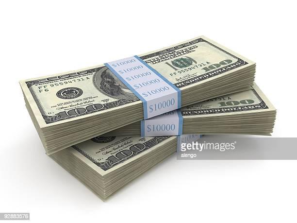 Stapel von drei Pakete von 100,-US-Dollar Rechnungen
