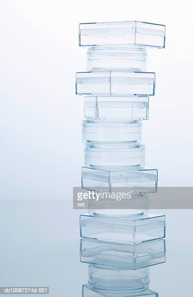 Stack of transparent plastic boxes