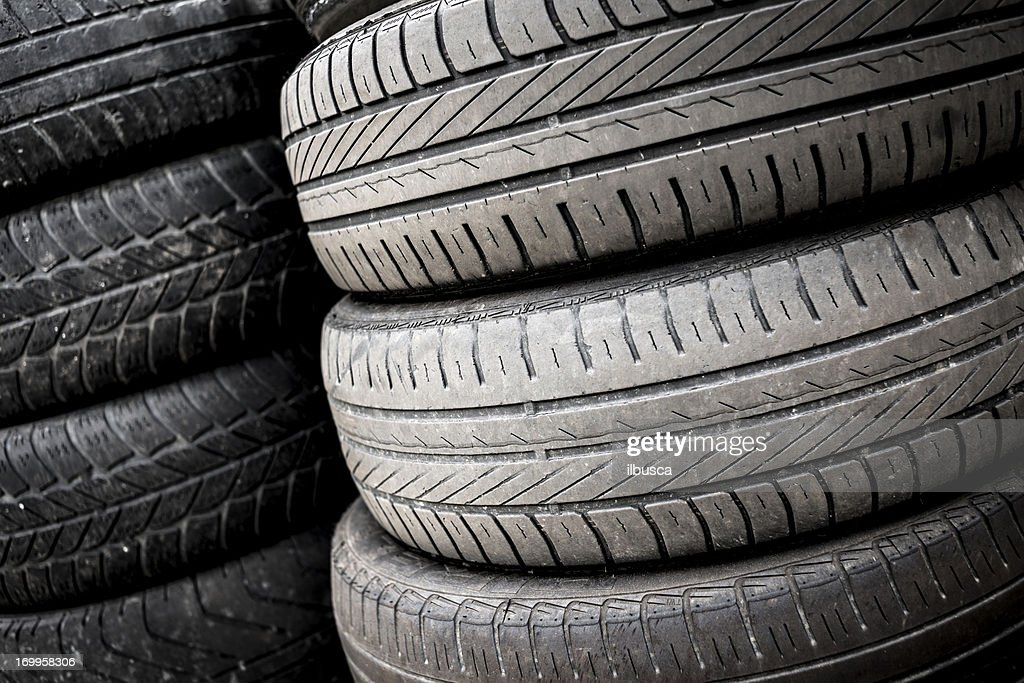 Stack of tyres : Stock Photo