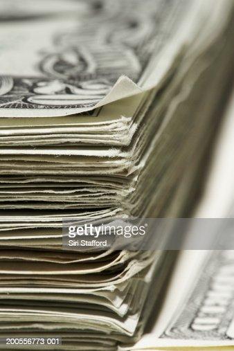 Stack of US Dollar banknotes, close-up