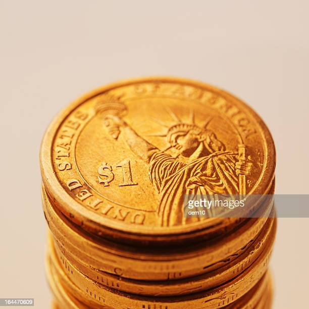 Stack of US dollar coins