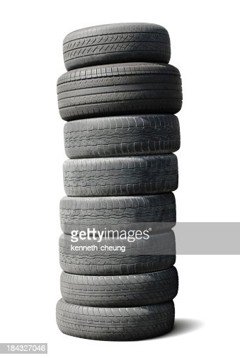 Stack of Used Tires - Isolated w/ Path