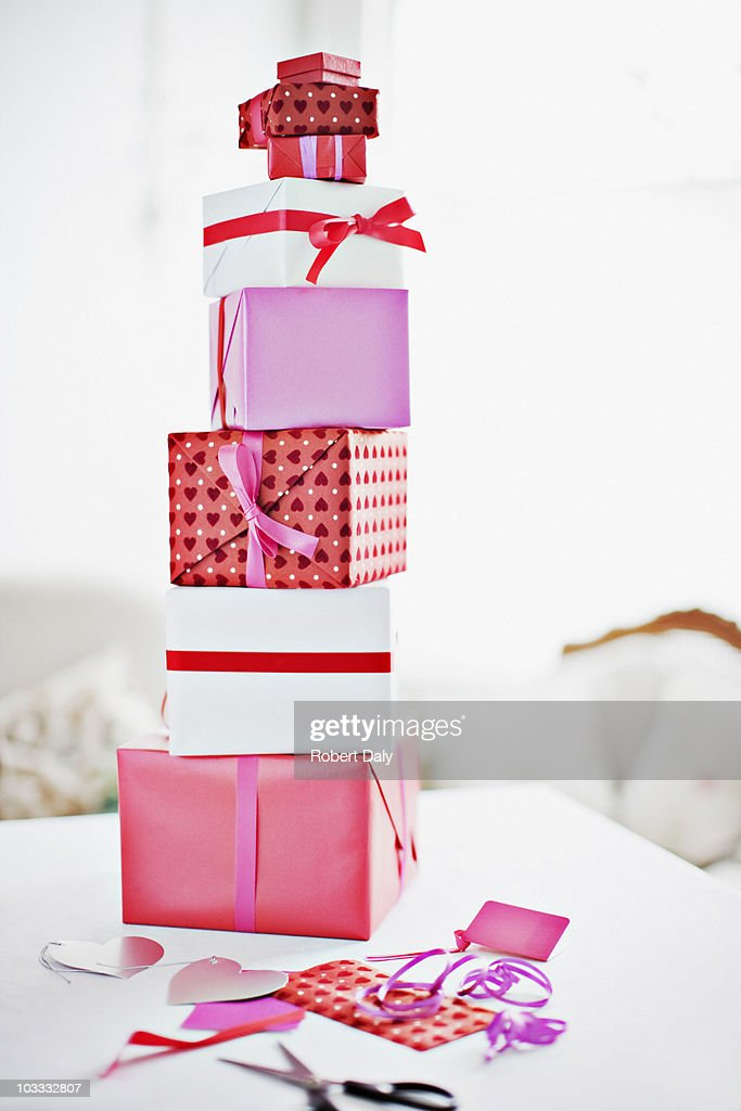 Stack of Valentine's Day gifts : Stock Photo