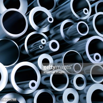 A stack of various metall pipes