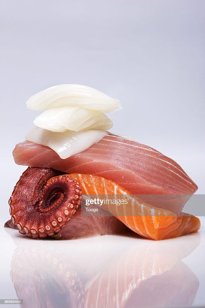 Stack of various sashimi
