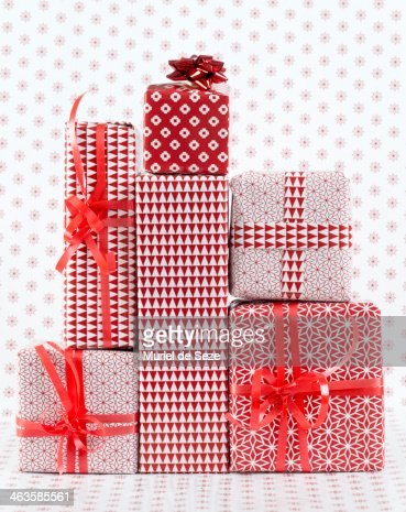 Stack of wapped gifts