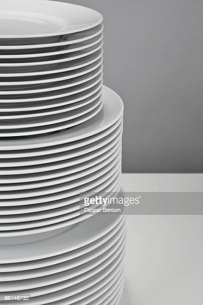 A stack of white crockery