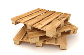 Stack of wooden pallets. Isolated on white background.