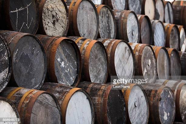 Stack of wooden whisky casks