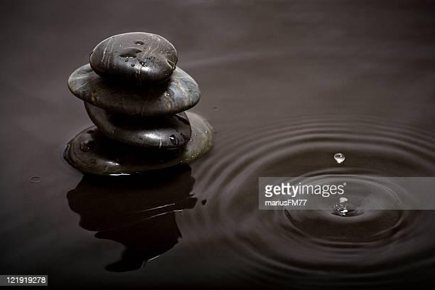 Stack rock in rain