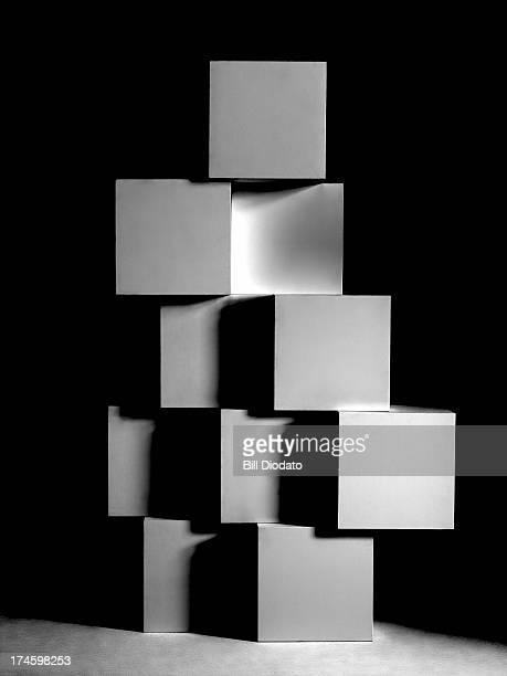 Stacked blocks in black background