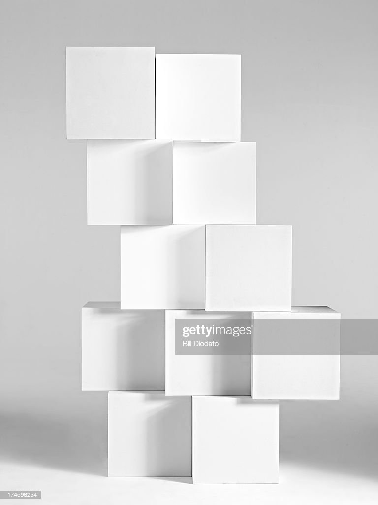 Stacked blocks in white background