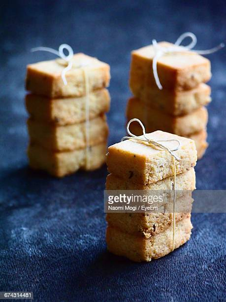 Stacked Caraway And Lemon Shortbread Cookies On Table