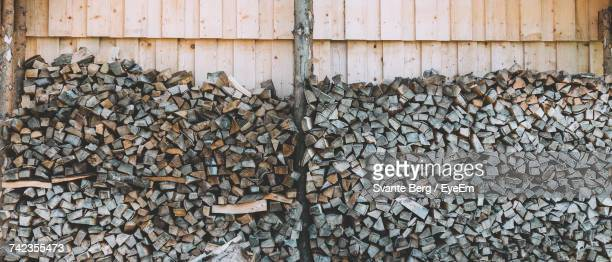 Stacked Logs By Wooden Wall