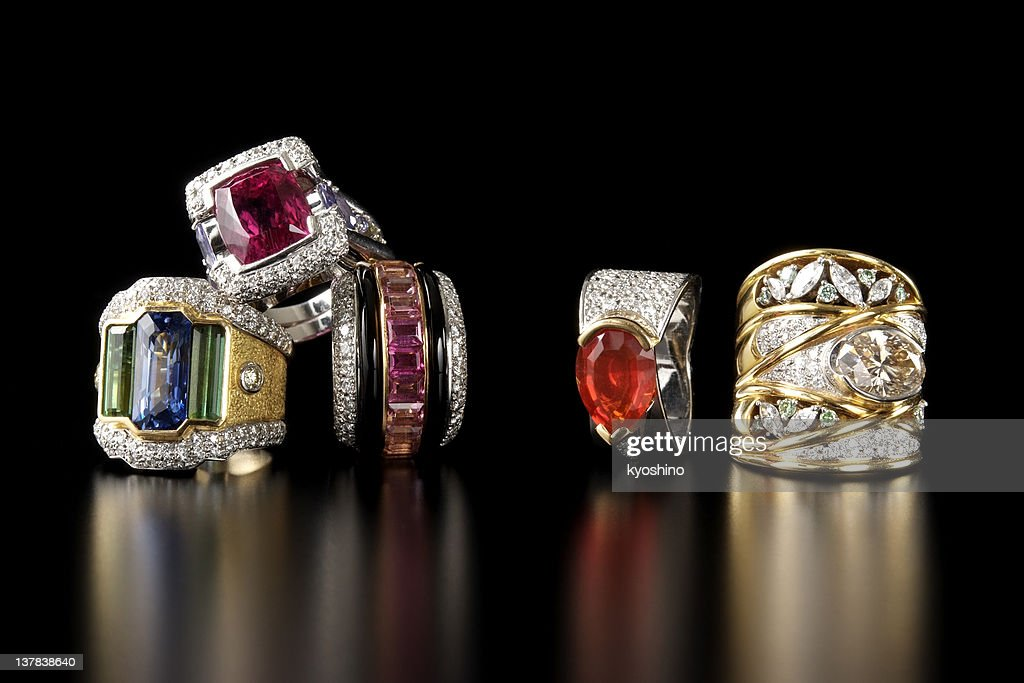 Stacked luxury ring on black background with copy space : Stock Photo