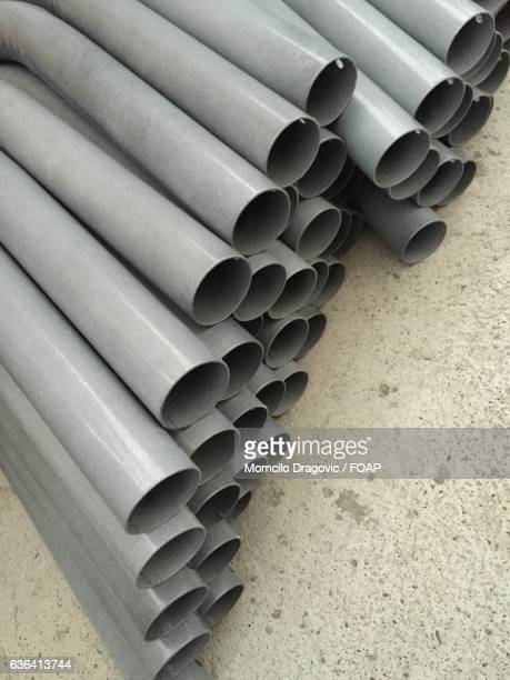 Stacked of steel pipes