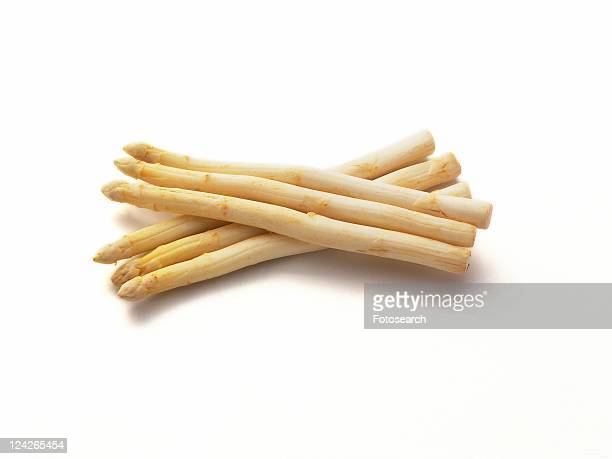 Stacked of White Asparagus, high angle view