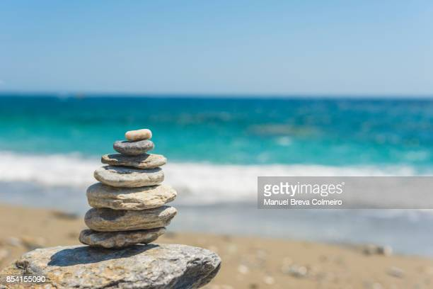 Stacked pebbles in Katergo Beach