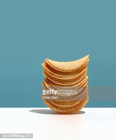 Stacked potato chips, studio shot