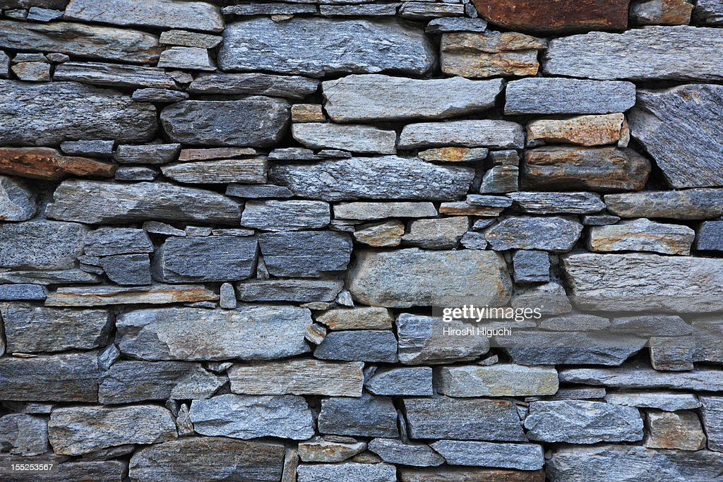 Stacked rock wall : Stock Photo