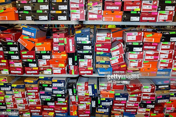 Stacked shoe boxes at the Nissan Health and Fitness Expo