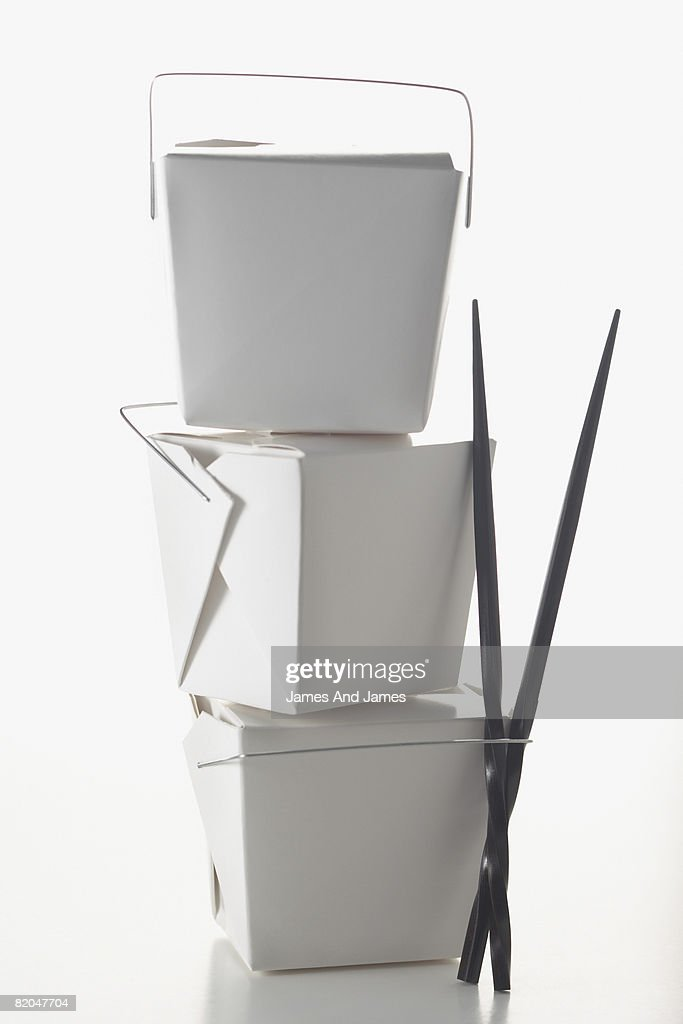 Stacked takeout Chinese containers : Stock Photo