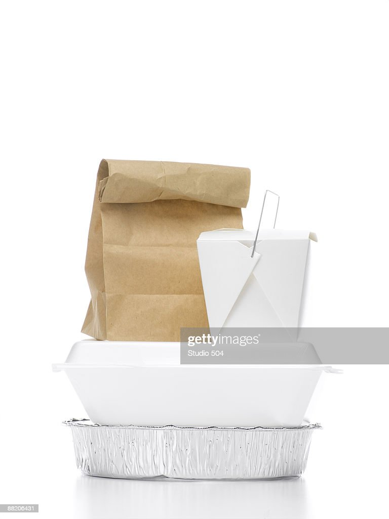 Stacked take-out containers : Stock Photo