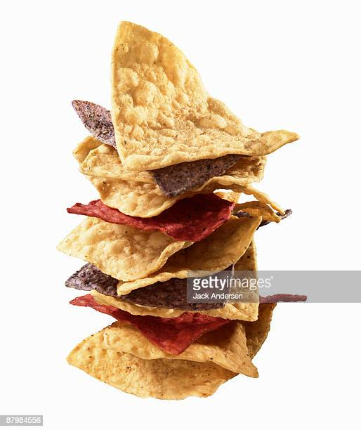 Stacked tortilla chips