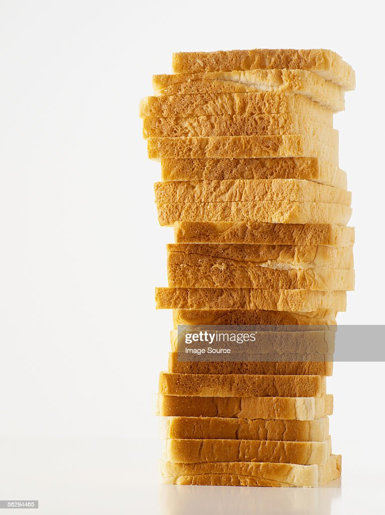 Stacked white bread : Stock Photo