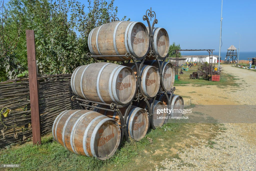 Stacked wine barrels : Stock Photo