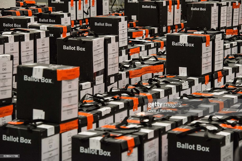 Stacks of ballot boxes ready to be opened during the London Mayoral and Assembly election count at Kensington Olympia on May 6, 2016 in London, England. This is the fifth mayoral election since the position was created in 2000. Previous London Mayors are Ken Livingstone for Labour and more recently Boris Johnson for the Conservatives. The main candidates for 2016 are Sadiq Khan, Labour, Zac Goldsmith, Conservative, Sian Berry, Green, Caroline Pidgeon, Liberal Democrat, George Galloway, Respect, Peter Whittle, UKIP and Sophie Walker, Wonmen's Equality Party.