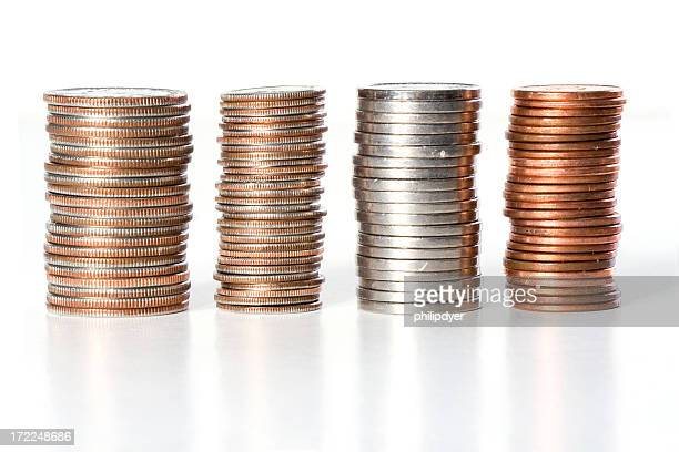Stacks of coins of American currency