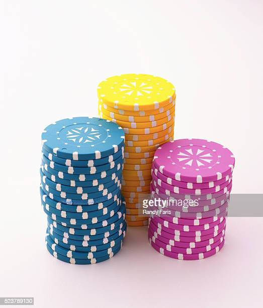 Stacks of Colorful Gambling Chips