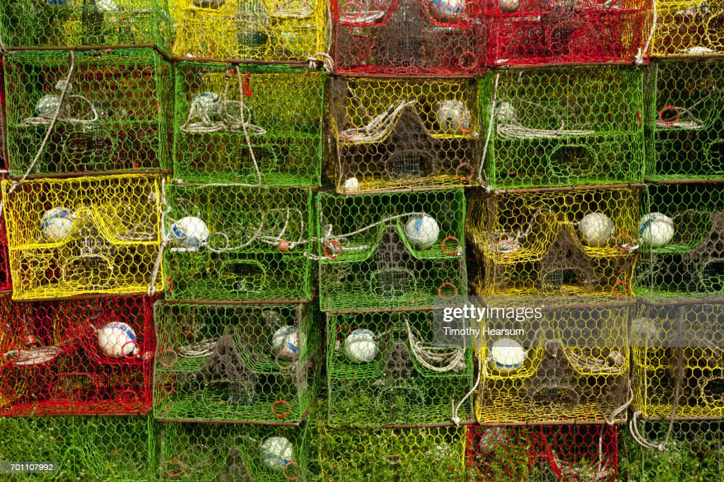 Stacks of colorful lobster/crab traps : Stock Photo
