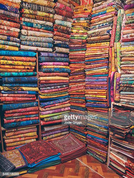 Stacks of colourful material in India