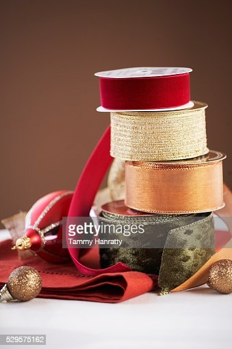 Stacks of Festive Ribbon : Stock-Foto