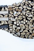 Stacks of firewood covered with snow