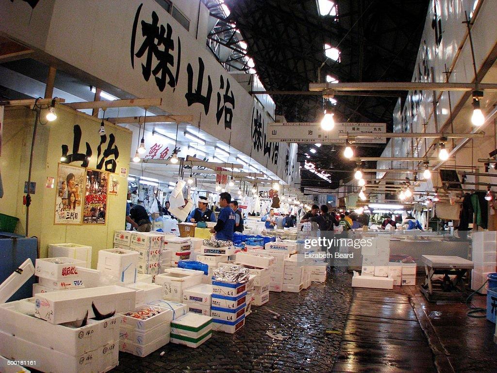 Stacks of fish boxes