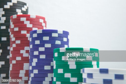 Stacks of gaming chips, close-up : Stock Photo