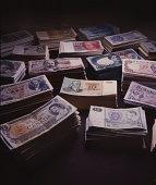 Stacks of international currencies
