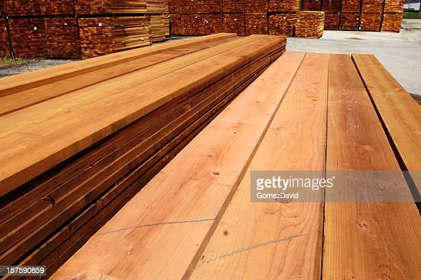 Stacks of Just Milled Redwood Lumber