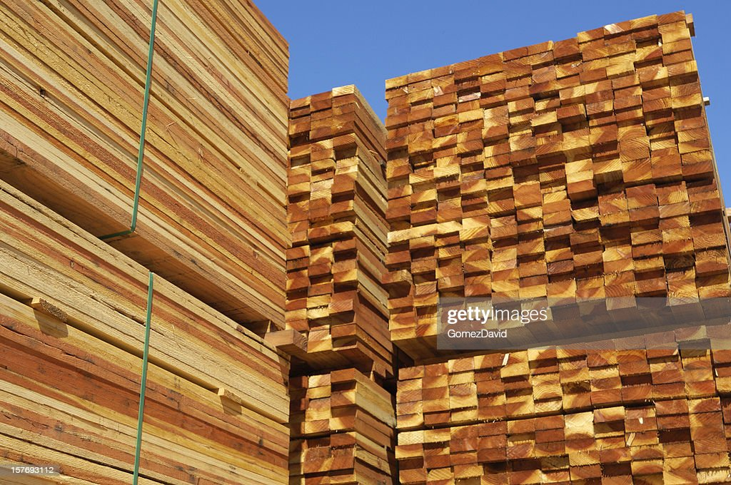 Stacks Of Just Milled Redwood Lumber Stock Photo Getty