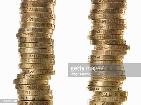 Stacks of one pound coins : Stock Photo