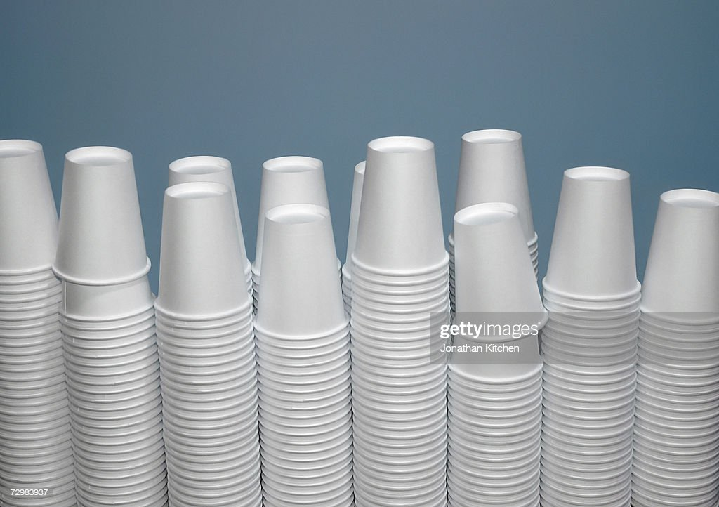 Stacks of plastic cups : Stock Photo