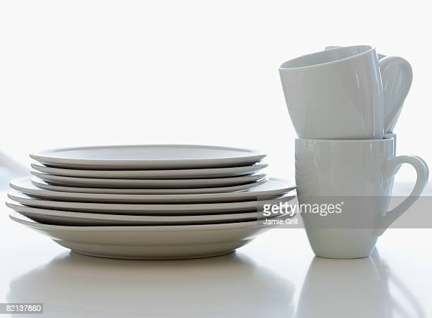 Stacks of plates and cups