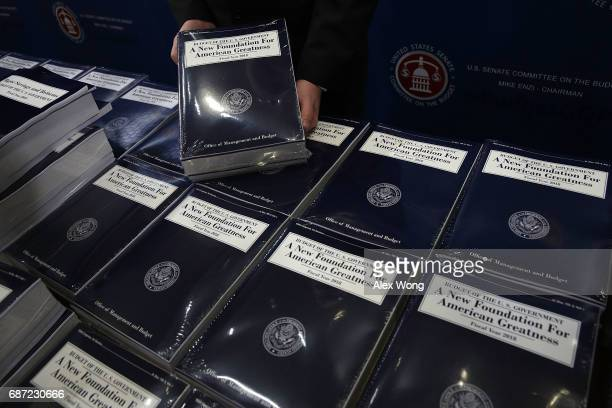 Stacks of President Donald Trump's FY2018 budget proposal are seen during a photo availability May 23 2017 on Capitol Hill in Washington DC President...