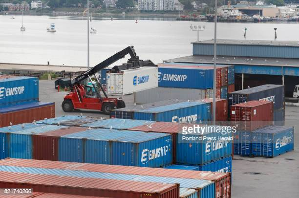 Stacks of shipping containers are seen at the International Marine Terminal Monday August 1 2016 in Portland Maine