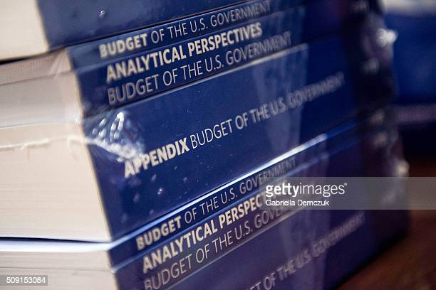 Stacks of the President's Fiscal Year 2017 Budget sit in the House Budget Committee Room in the Cannon House Office Building on February 9 2016 in...